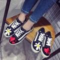 Envío Libre Mujeres de La Manera Zapatos de Lona Atan Los Zapatos Casual Hombres Floral GD-pintura de la Mano Fuera de la puerta Zapatos de Plataforma tamaño 35-39