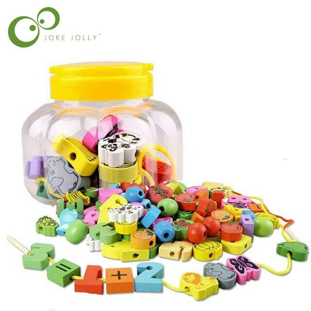 20 unids/pack juguetes de madera animales de dibujos animados cuentas de fruta cuentas de enhebrar juego educativo juguete para bebés niños GYH