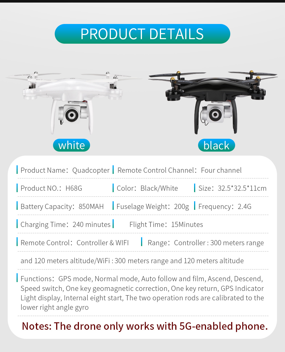 JJRC H68G GPS Drone With Camera 1080P HD 5G Wifi FPV Quadrocopter RC Helicopter Professional Dron Compass Auto Follow Quadcopter 19
