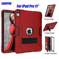 Heavy Duty Silicone TPU + PC Hard Flexible Stand Armor Case For iPad Pro 2018 11inch Drop Shock Proof + Screen Protector ID702