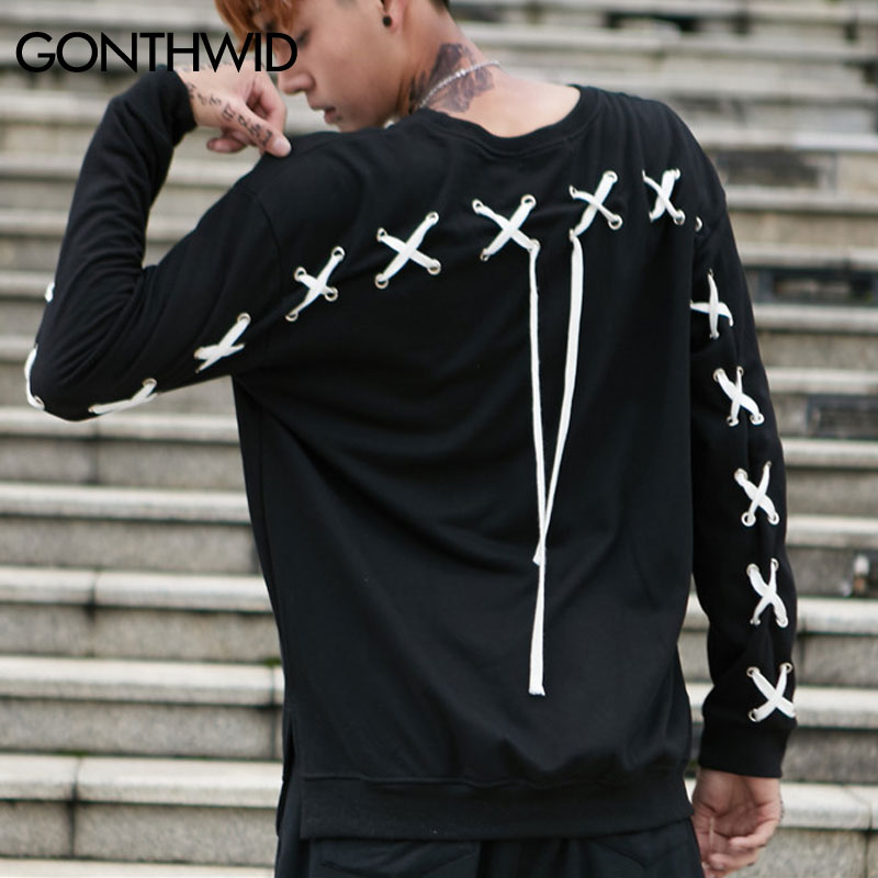 6fcfddc7f7 GONTHWID Back Lace Up Cross Shoulder Hoodies Men 2017 Autumn Hip Hop Casual  Cotton Pullover Sweatshirts Male Fashion Streetwear-in Hoodies   Sweatshirts  ...