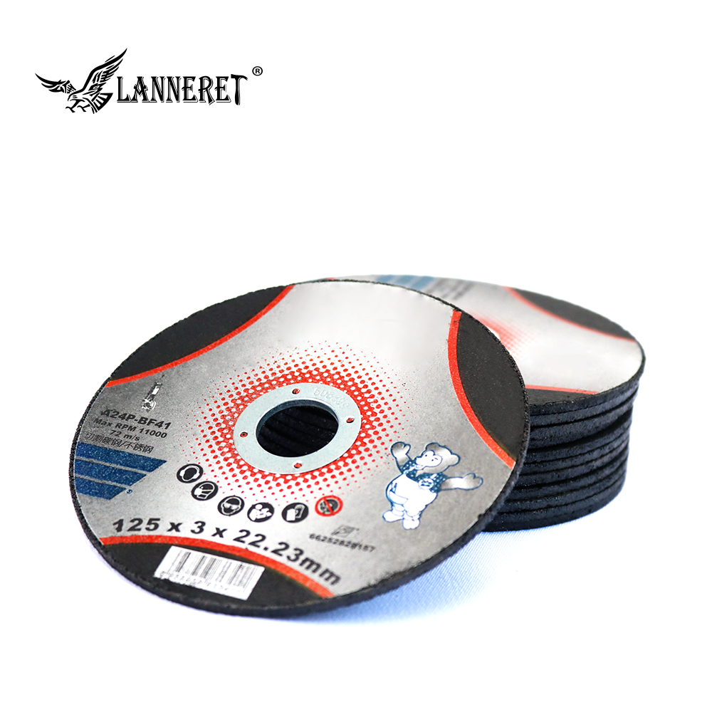 LANNERET 125mm/5-Inch Grinding Wheel Fiber Reinforced Resin Cutting Disc Stainless Steel Metal Cutting Angle Grinder Tools