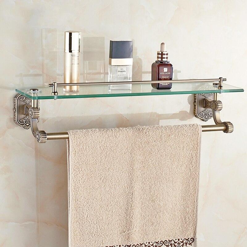 bathroom shelves wall mounted bathroom glass washing shower shelf bathroom accessories shampoo holder with towel