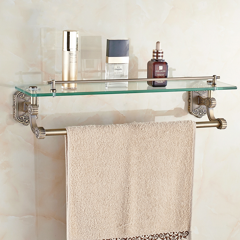 Rose gold glass bathroom shelves copper golden bathroom for Gold glass bathroom accessories