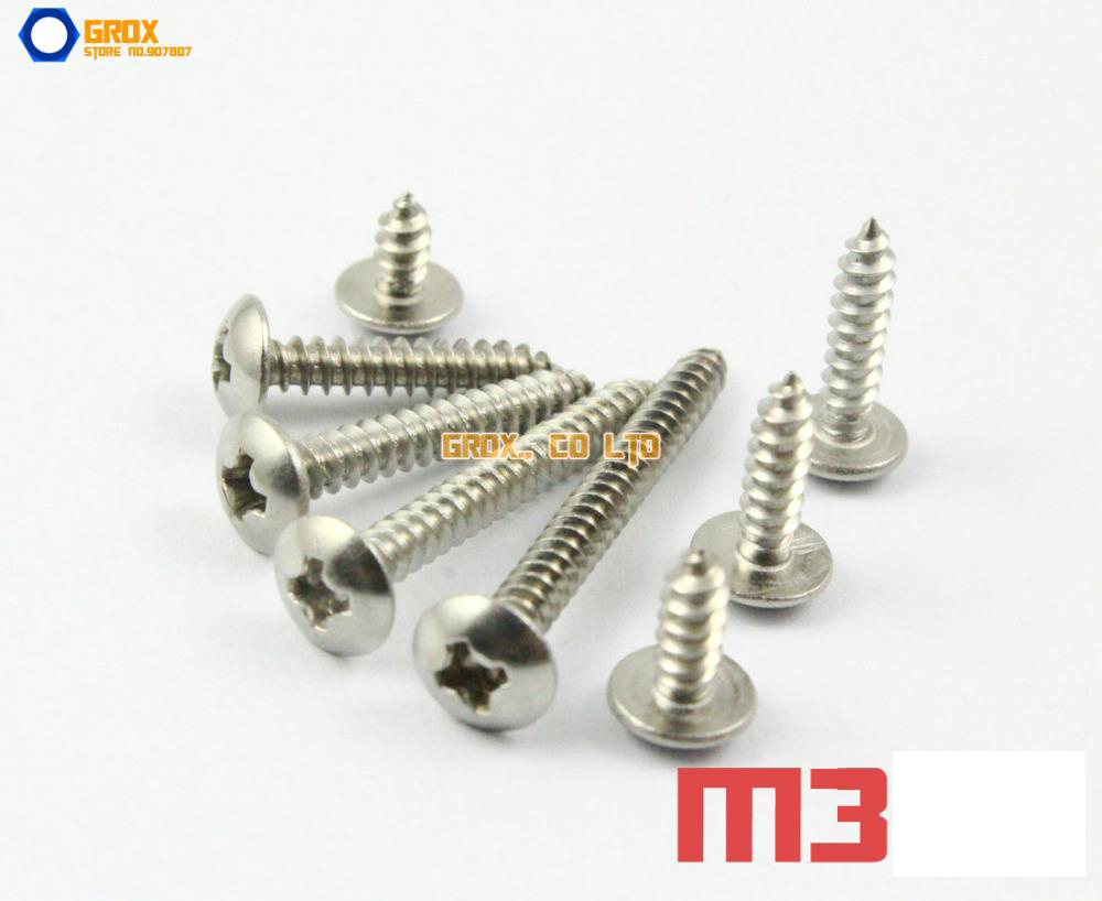 M3 304 Stainless Steel Phillips Truss Head Self Tapping Screws 10pcs m6 16mm m6 16mm 316 ss stainless steel mushroom head sttp screw self tapping screw truss phil screws