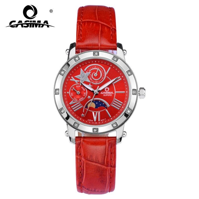 Mode de luxe marque montres décontracté diamant cristal multi-fonction Table Quartz montre dame étanche 50 m CASIMA #2801