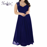 Nemidor Hot Sales Women Elegant Lace Top Deep V neck Chiffon Party Dress Vintage 3/4 Sleeve Plus Size 8XL 9XL Long Maxi Dress