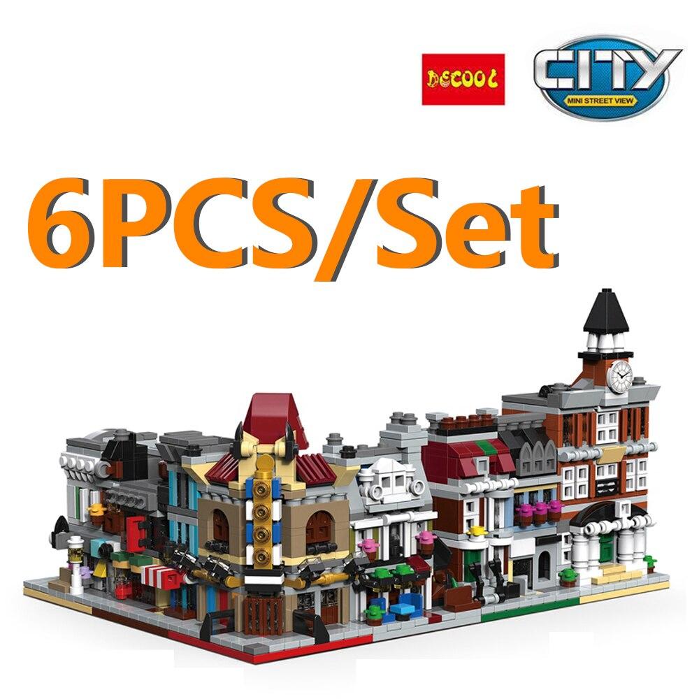 6pcs/Set Decool City Street View Building Bricks Blocks Pet Shop Bank Reaturant Theartre Detective Agency City Hall Kids Gifts цена