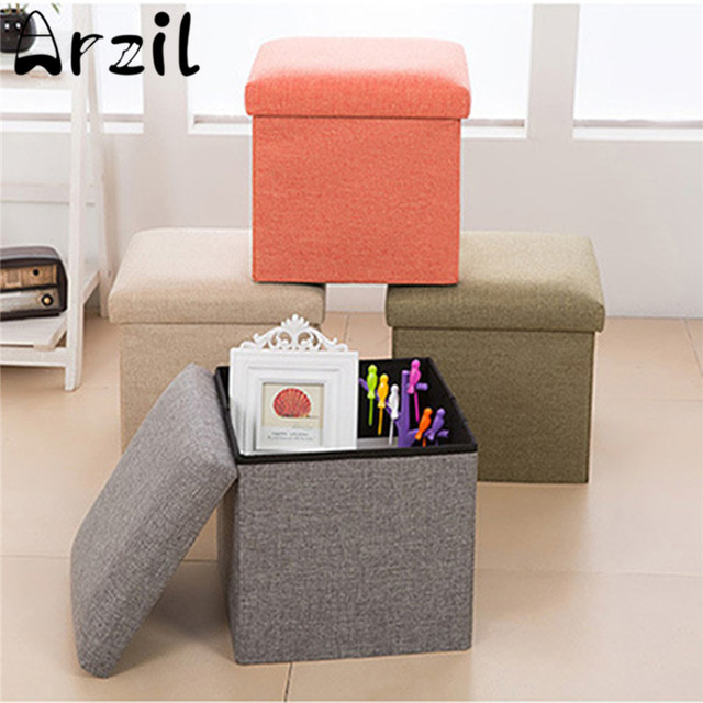 Multifunctional Linen Storage Box Foldable Shoe Changing Sofa Folding Cloth  Toy Storage Boxes Storage Stool Organizer
