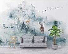 Купить с кэшбэком Beibehang Custom photo wallpaper mural Hand painted elk forest Living room sofa background landscape 3d wall paper papel tapiz