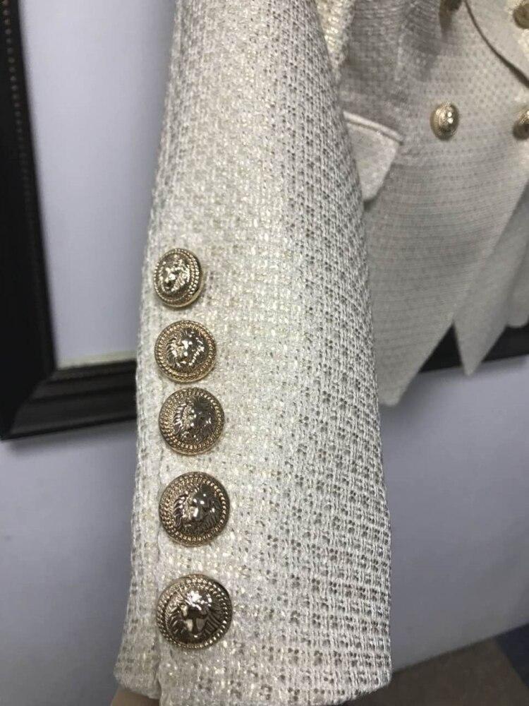 Blazer Feminino Vestes 2018 Nouveau Yaxez Femmes Extérieur Métal Lion De Designer Manteau Double Boutons Breasted Automne tfU4Wq