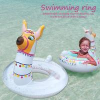 Summer Cartoon Alpaca Kids Swimming Ring Baby Inflatable Pool Float Ring Kids Pool Toy Float Thick High Quality