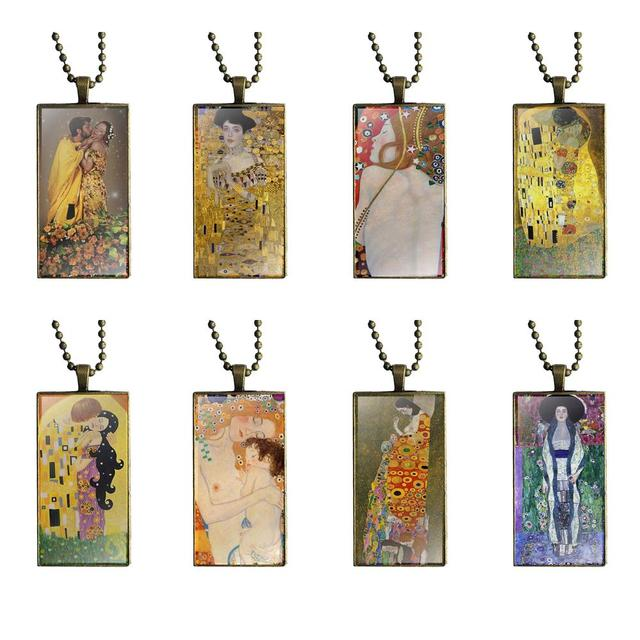 For Girls Gifts 2018 The Kiss By Gustav Klimt Fashion Glass Cabochon Pendant Necklace With Women Bronze Plated Statement Jewelry