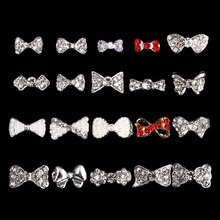 100PCS 3673-3692  Alloy Glitter 3d Nail Bows Art Decorations with Rhinestones ,Alloy Charms,Jewelry on Nails Salon Supplies