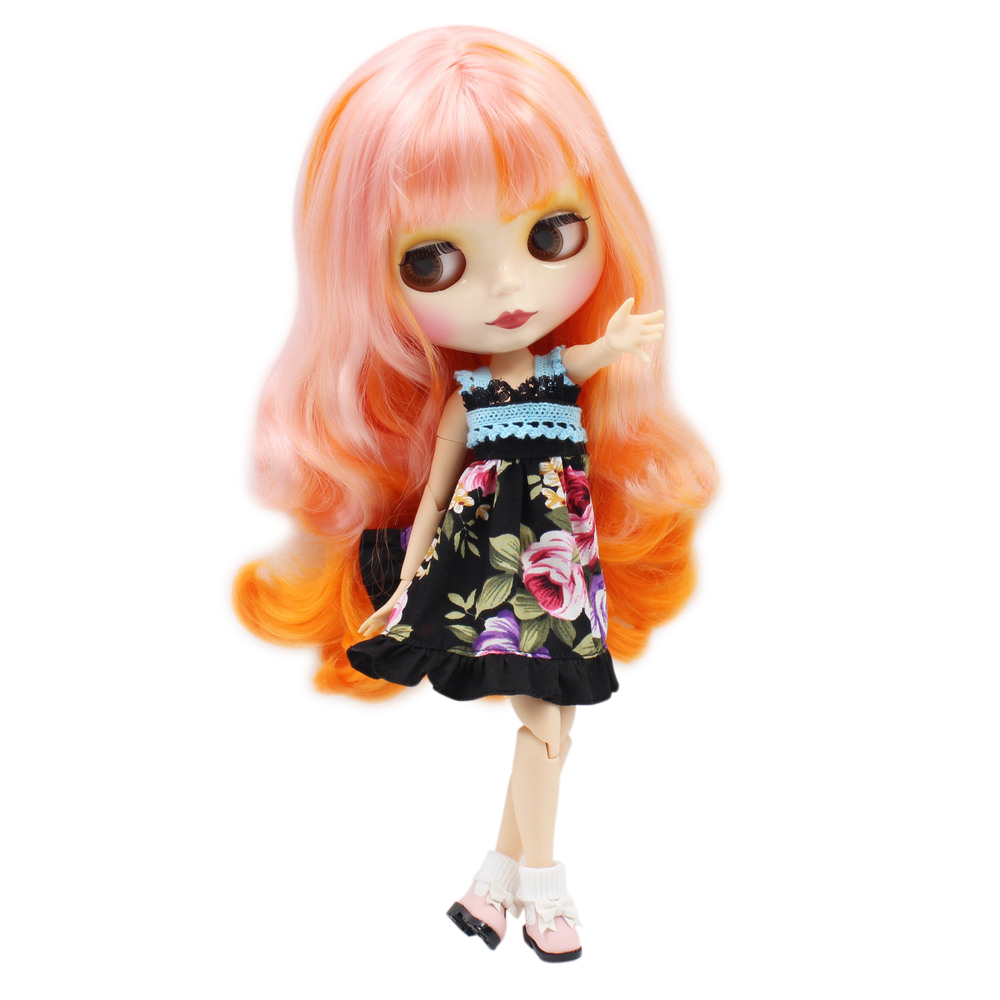 blyth doll joint body White skin 1010 2250 Pink mix Orange hair factory doll for girl