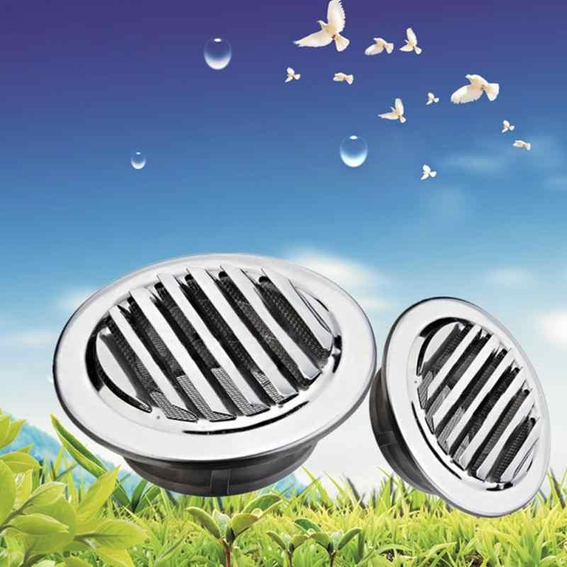 80/100/120 Mm Stainless Steel Perak Kisi Ventilasi Bulat Air Grille dengan Flange Perlindungan Serangga