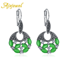 Ajojewel 2019 Statement Vintage Earrings For Women Blue Green White Opal Round Pendant Luxury Jewelry Drop Shipping