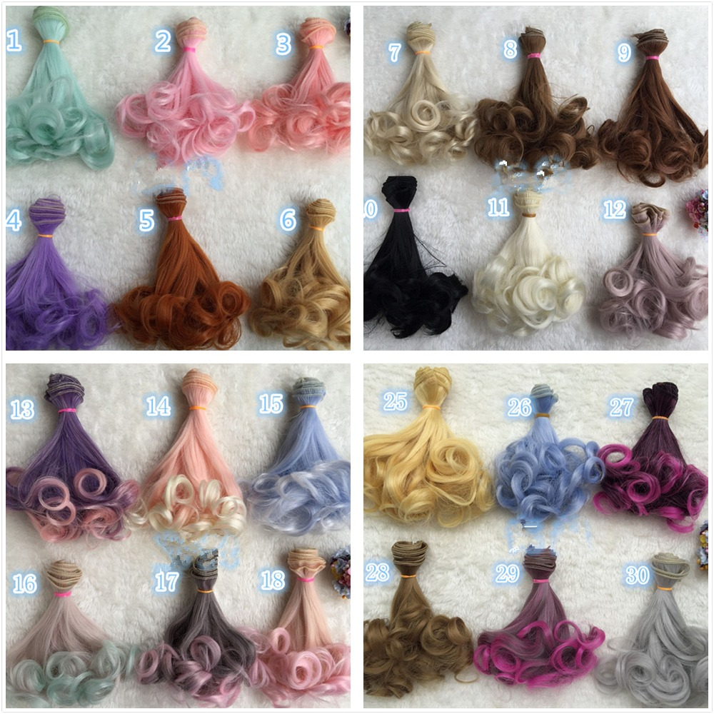 NEW Wholesale 100pcs lot Colorful Rinka Curly Doll DIY Wigs For 1 3 1 4 BJD