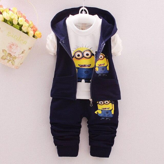 2016 Spring/Autumn Baby Girls Boys Minion Clothes Suits Cotton Vest+T Shirt+Pants 3 PCS Children Casual Sets Infant/Newborn Sets