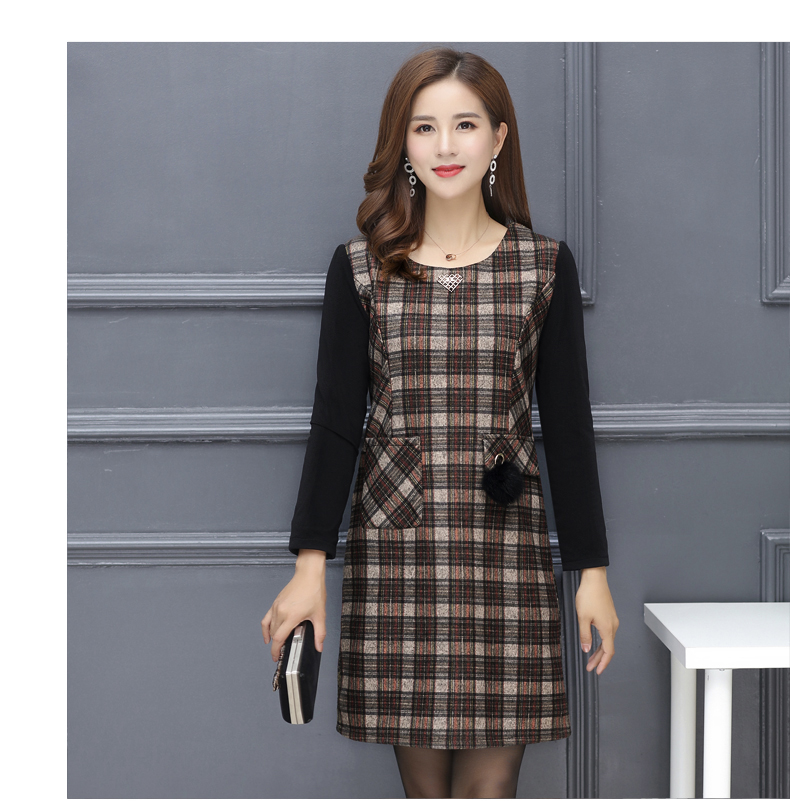 Winter Woman Elegant Tweed Dress Red Yellow Plaid Pattern Blends Robe Femme Thicken Fleece Dresses Woman Warm Shift Dress Office Outfits (10)