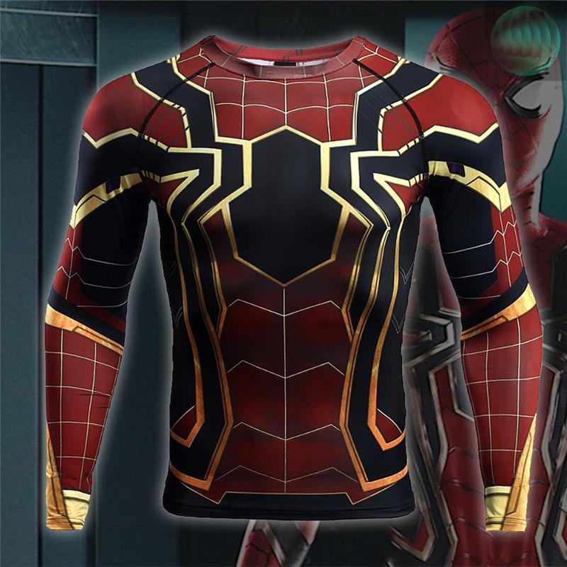 Avengers: Infinity War Spiderman 3D Printed T shirts Men Compression Shirts Crossfit Tops For Male Cosplay Costume