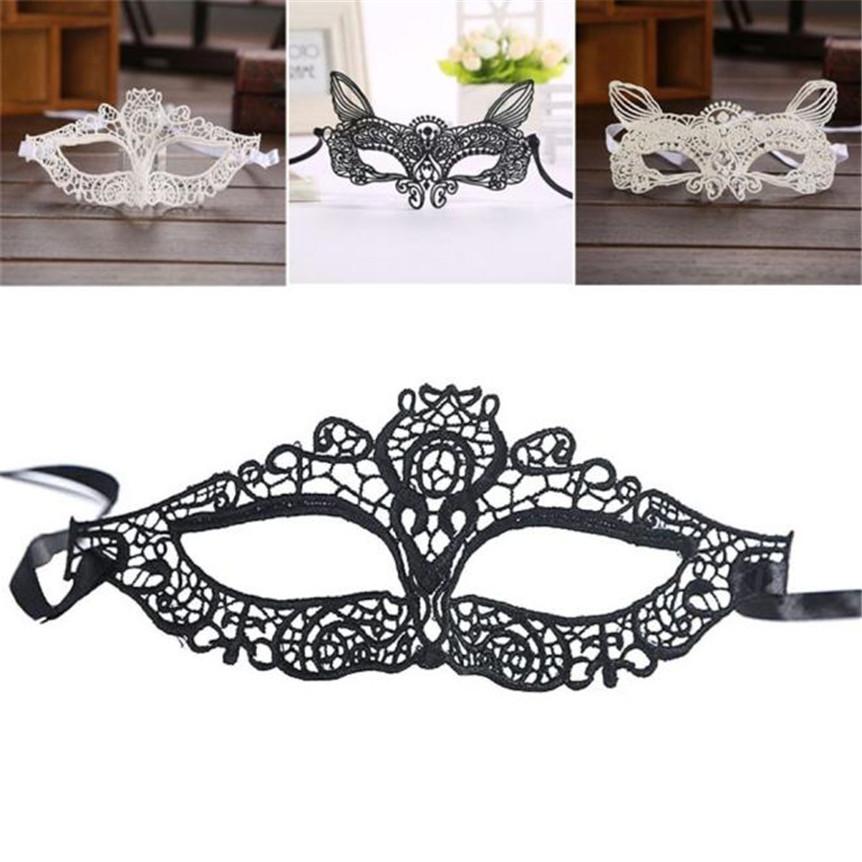 Happy Sale Halloween Masquerade Sexy Lady Black White Lace Mask hollow out Catwoman Ideal for gala ball and house party Nov3