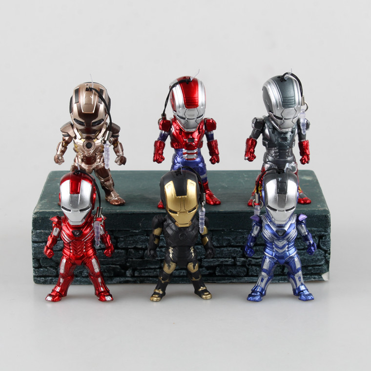 Movie Figure 6PCS/SET Egg Attack Iron Man Light & Action Function Iron Prtriot MK42 PVC Action Figures Toys Collectible Model iron man action figure mini egg attack light 6pcs set action figures pvc brinquedos collection figures toys for christmas gift