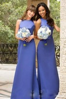 Satin Bridesmaid Dresses Royal Blue Satin Crew Neck Backless Formal Prom Dresses New Arrival Formal Party