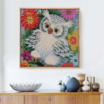 Huacan Diy Diamond Painting Cartoon Owl Baby Cross Stitch Colorful Diamond Embroidery Flowers Around Home