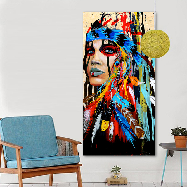 Indian Woman Feathered Pride Painting Wall Picture