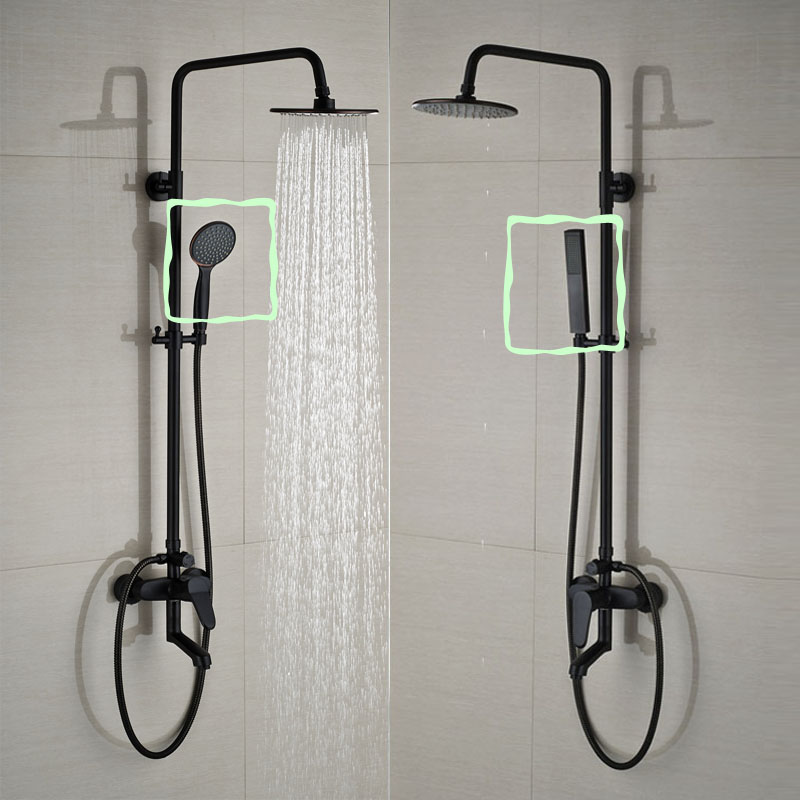 Bathroom black shower set wall mounted 8 rainfall shower for Black white bathroom set