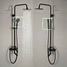 Ванная комната черный набор для душа настенный 8 «Осадки смеситель для душа кран 3-функции смеситель клапан