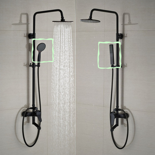 Bathroom Black Shower Set Wall Mounted 8\