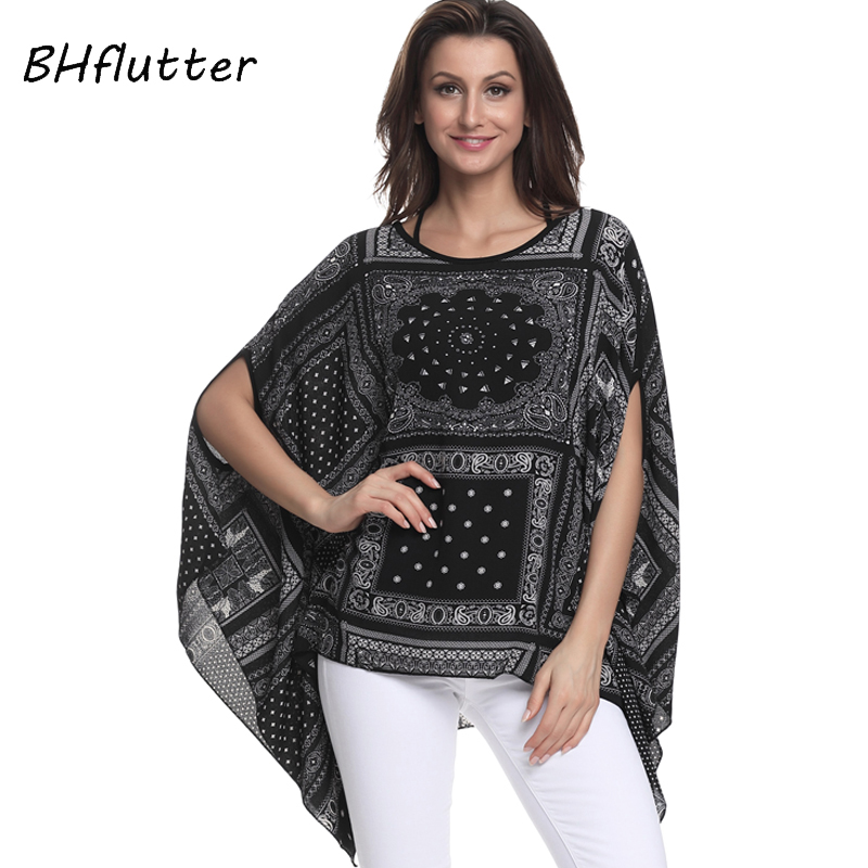 BHflutter Women   Blouses   2018 New Print Chiffon   Blouse     Shirt   Batwing Sleeve Casual Loose Boho Summer Tops Tees Plus Size 4XL 6XL