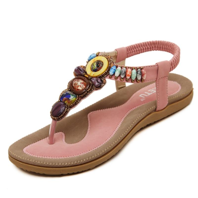36ce70f13dcb1 Fashion 2017 New Summer Women Shoes Casual Sandals Flip Flops Bohemia Flats  Beads Ethnic Beach Sandals Soft-in Women s Sandals from Shoes on  Aliexpress.com ...