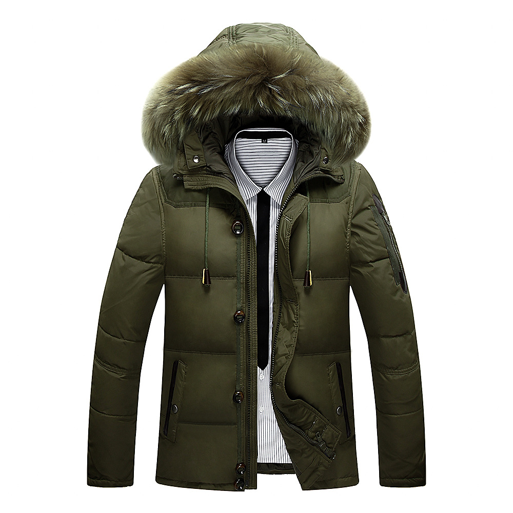 Thick Cotton jacket Men 2017 New Winter With Hood Detached duck down Warm Waterproof Handsome Big Fur Collar For Hooded Jackets рисунки булатова и васильева
