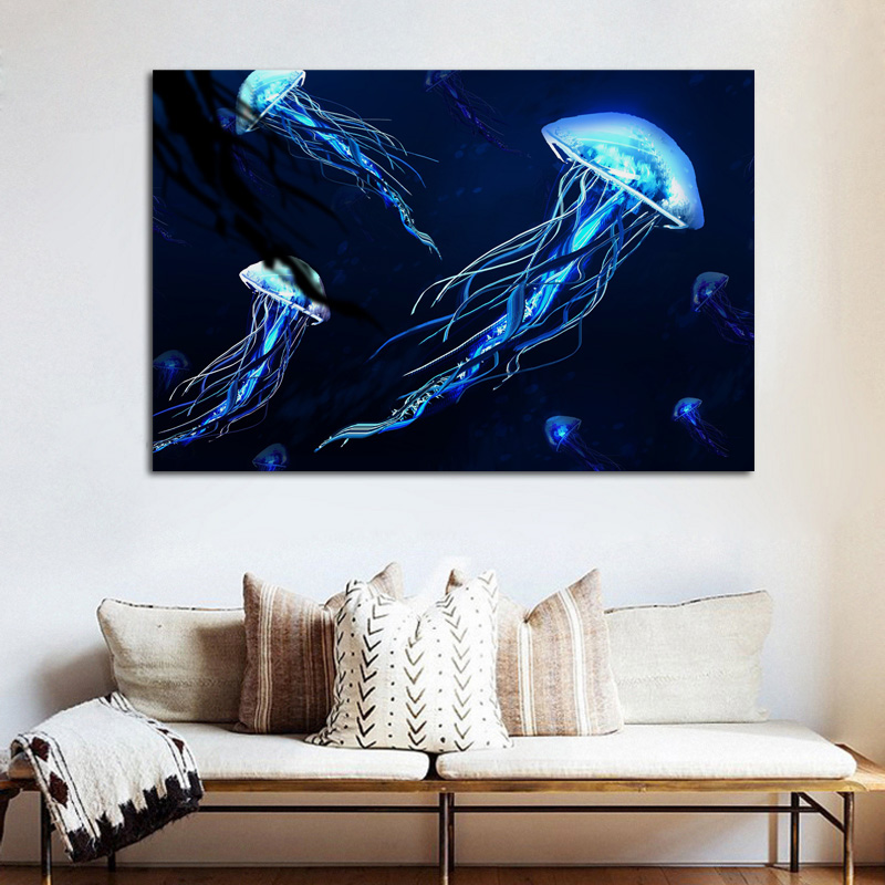 Living Room Art Decor.Us 7 67 36 Off Jellyfishes Beautiful Shining Underwater Medusa Animal Ke061 Living Room Home Wall Art Decor Wood Frame Fabric Poster Prints In