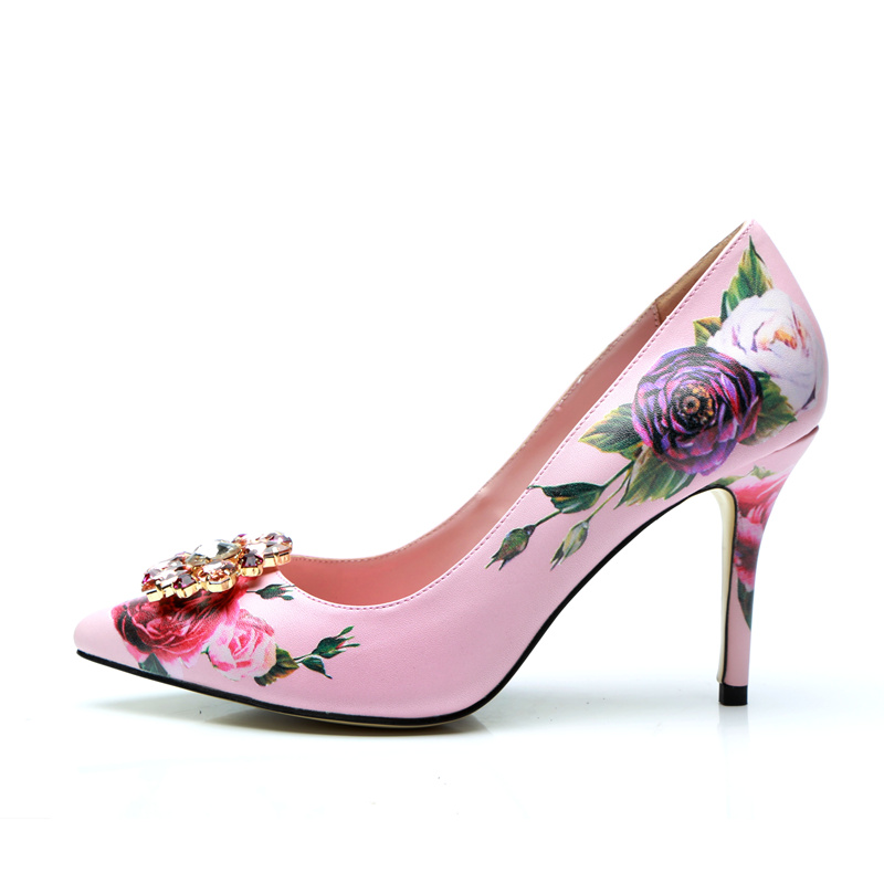 Glitter Crystal Embellished Women Pumps High Thin Heels Funky Shoes Women Stiletto Flower Print Slip On Women Shoes Brand Shoes ruffle embellished flower print cami jumpsuit