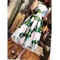 High quality 2017 new fashion women summer dress O-Neck Beading green printing Mid - Calf dress
