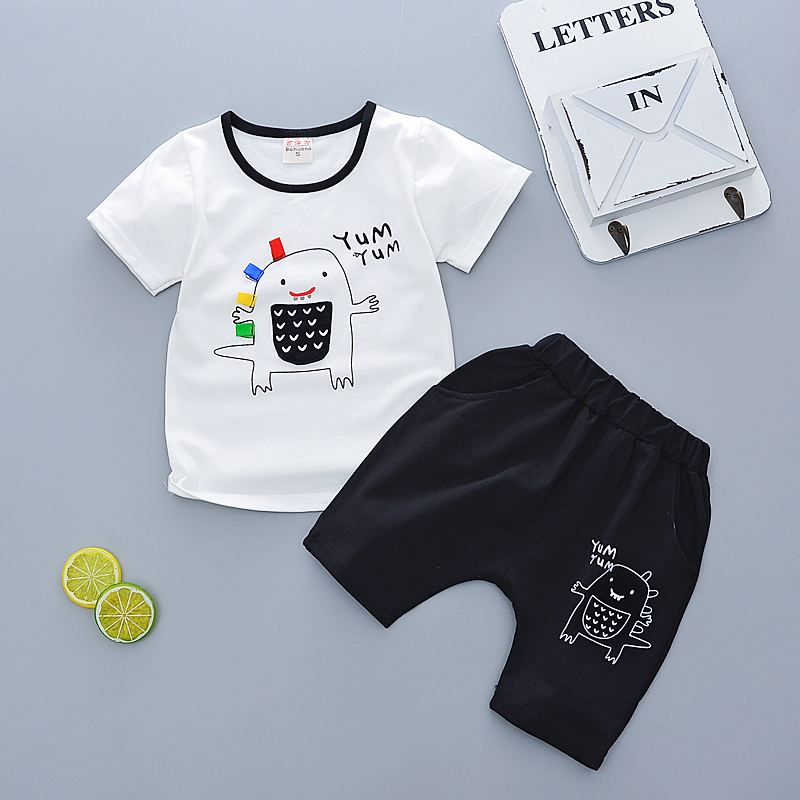 Summer children clothes sets boys girls sport clothing Cute dinosaur O-neck T-shirt+short 2pc/set Kids suits