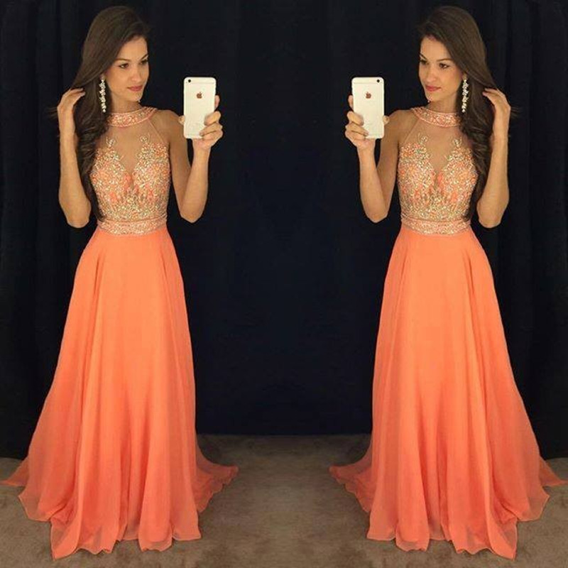 554626c63d Vestidos De Graduacion Cortos 2017 Sexy Halter Neck Sleeveless A Line  Beaded Prom Dresses Orange Chiffon Party Gown