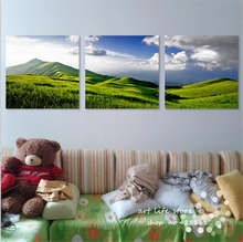 Art Poster and Prints Canvas Art Paintings Wall Painting Pretty Scenery Mountain Green With Lakes For Living Room(China)