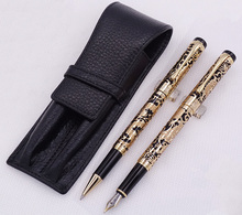 Jinhao 5000 Black Golden Fountain Pen & Roller with Real Leather Pencil Case Bag Washed Cowhide Holder Writing Set