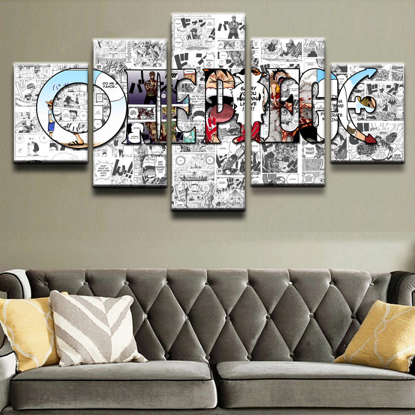 Poster Top-Rated Canvas Printed Large Painting Frame Home Decorative 5 Pieces One Piece Logo Wall Art Pictures For Living Room