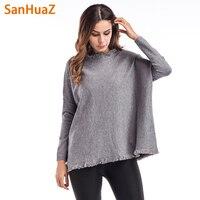 SanHuaZ Brand 2017 Winter Autumn Women S Sweater Casual O Neck Long Sleeve Loose Pullovers Tassel