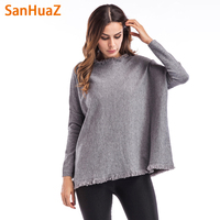 SanHuaZ Brand 2017 Winter Autumn Women S Sweater Casual O Neck Long Sleeve Loose Pullovers Tassel