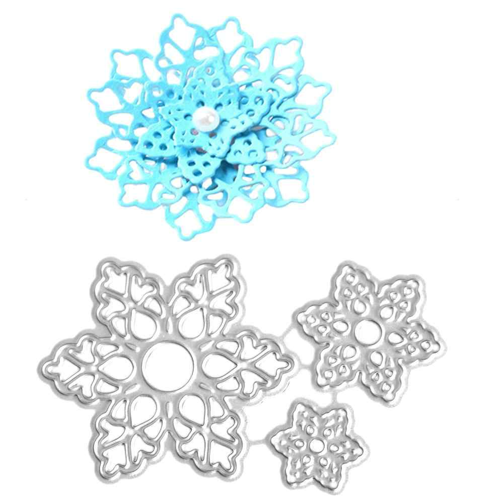 Corte dados diy floco de neve molde decoração convite flor faca artesanato faca aço carbono decoração cartões