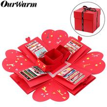 OurWarm Red DIY Surprise Party Love Explosion Box Valentines Day Gift For Anniversary Scrapbook Photo Album Birthday Gifts