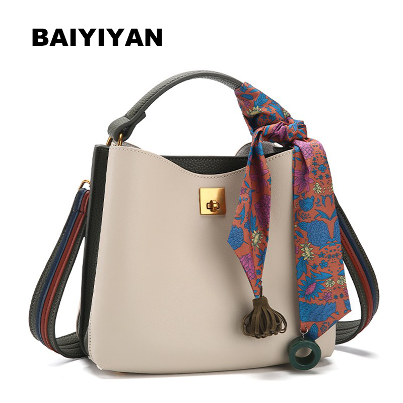 Women Handbag PU Leather Female Shoulder Bag Casual High Quality Ladies Bag Bucket Bag fashion Ribbon Tote bag