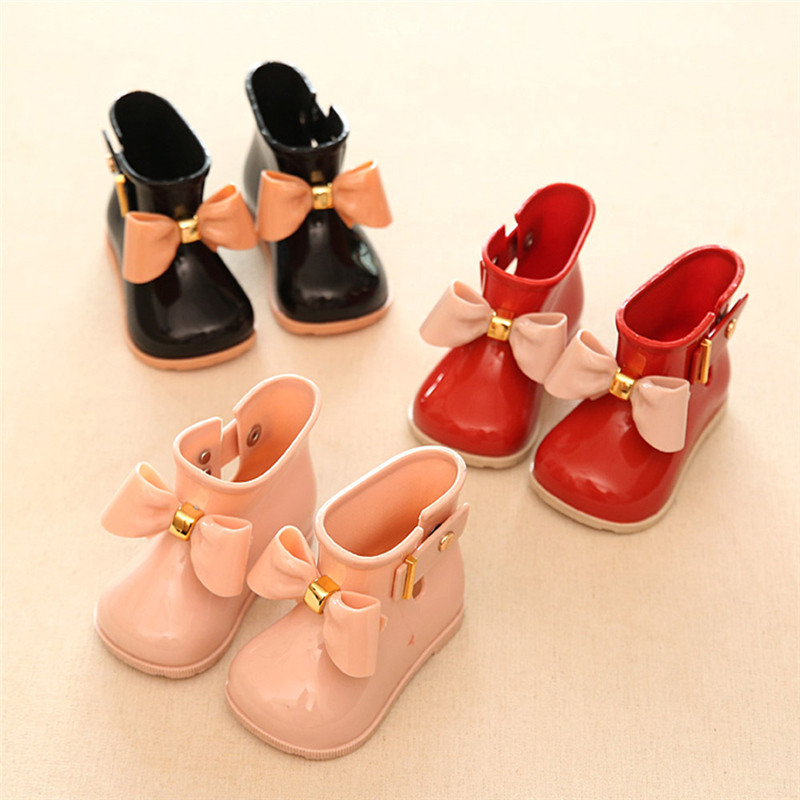 Kids Waterproof Rubber Rainboots Soft Baby Girls Shoe Non-slip Infant Rain Boots Bow-knot Toddler Rain Shoes Cute Child Gift
